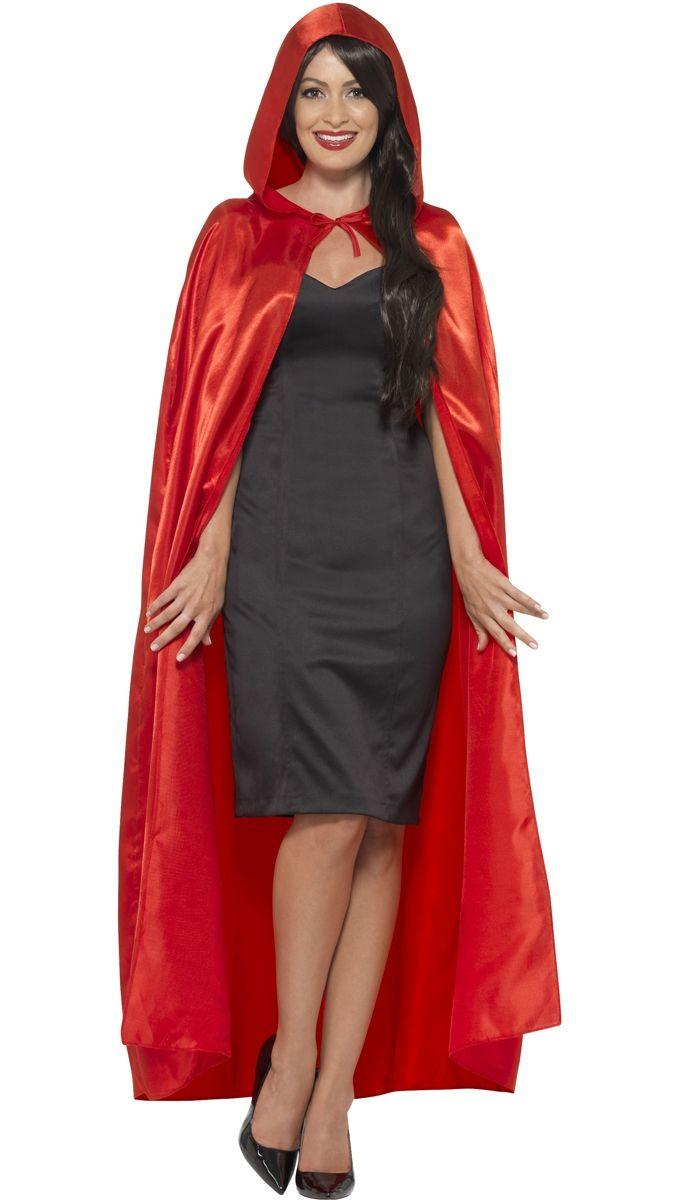 Satin Hooded Cape Red