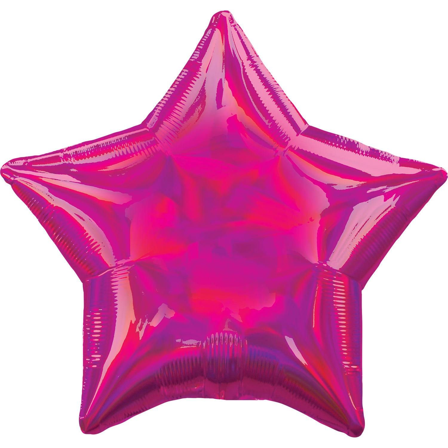 Foil Balloon Star Iridescent Magenta