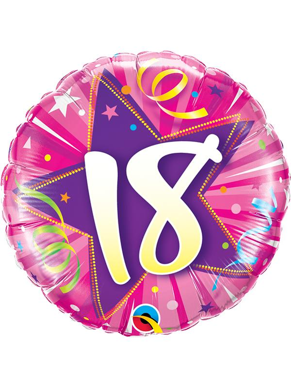 Foil Balloon Age 18 Hot Pink