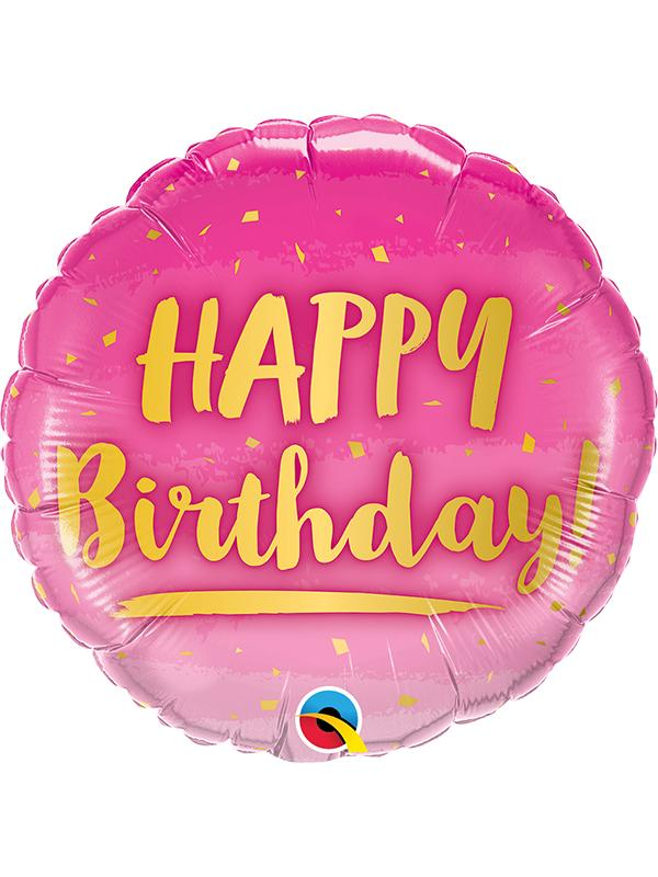 Foil Balloon Birthday Gold & Pink