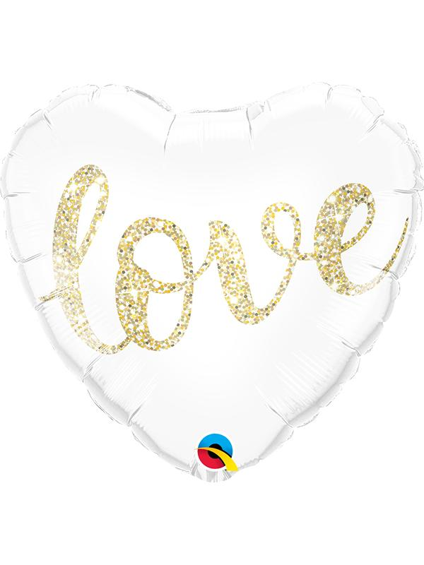 Foil Balloon Love Glitter Gold