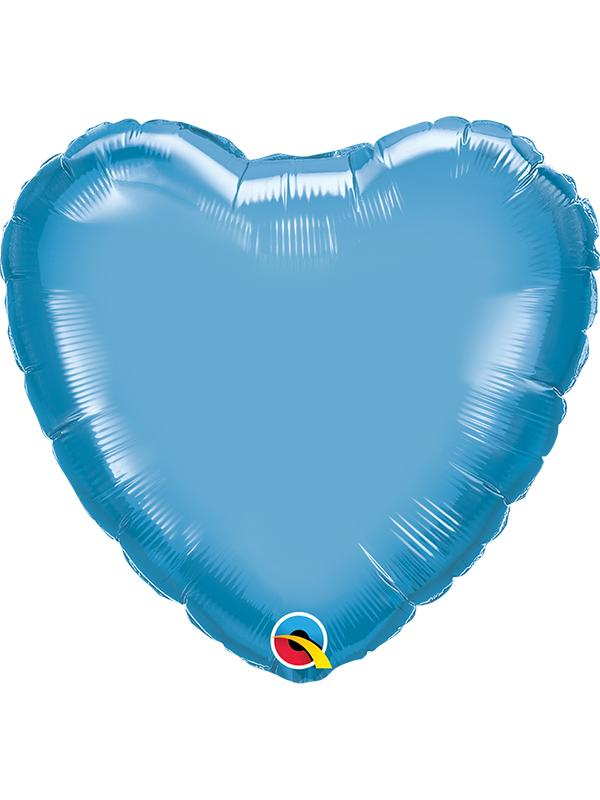 Foil Balloon Heart Chrome Blue