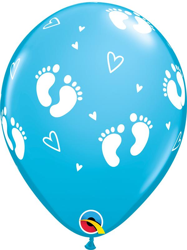 Latex Balloons Baby Feet Robins Blue