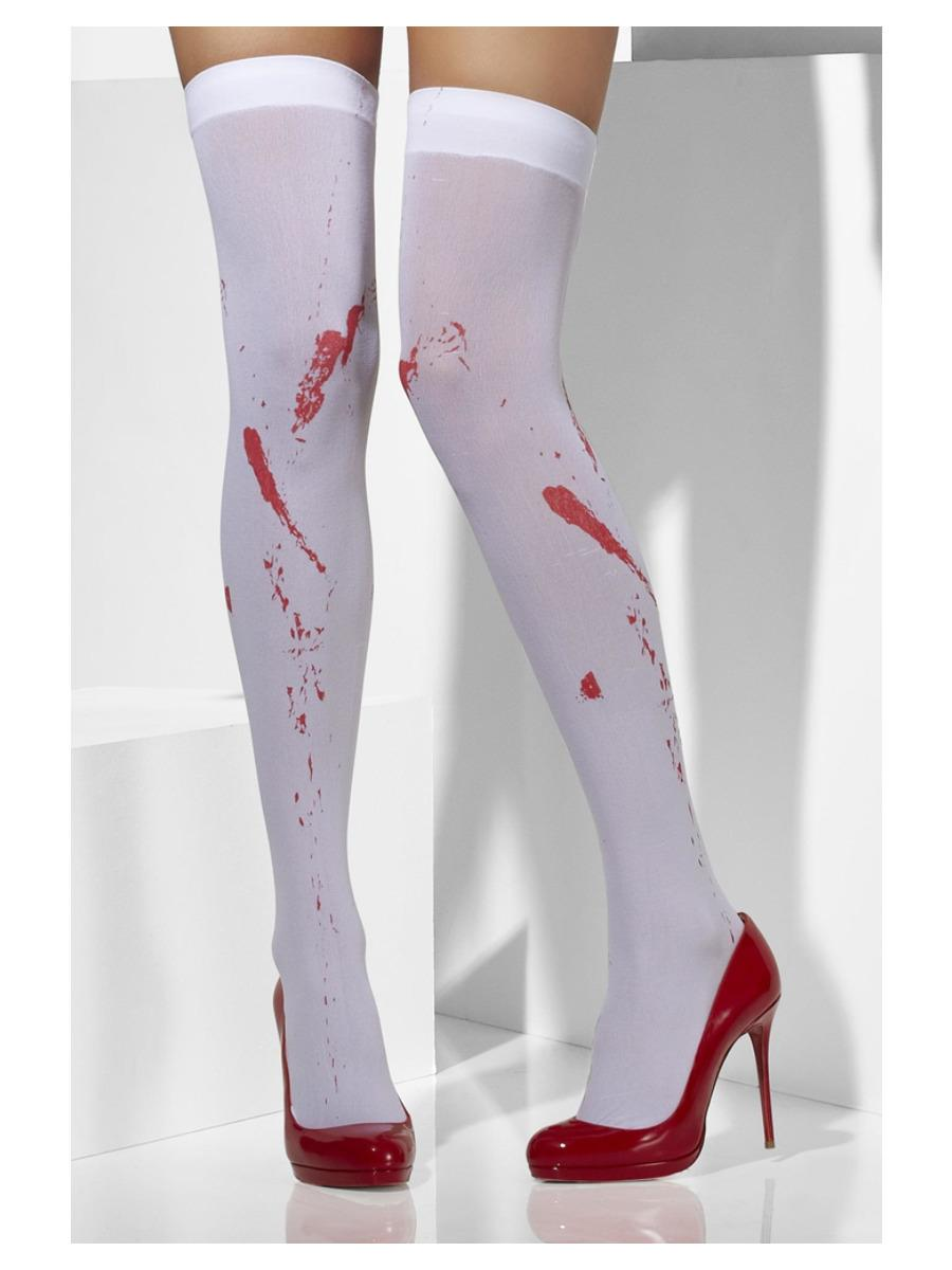 Opaque Hold-Ups White Blood Stain Print