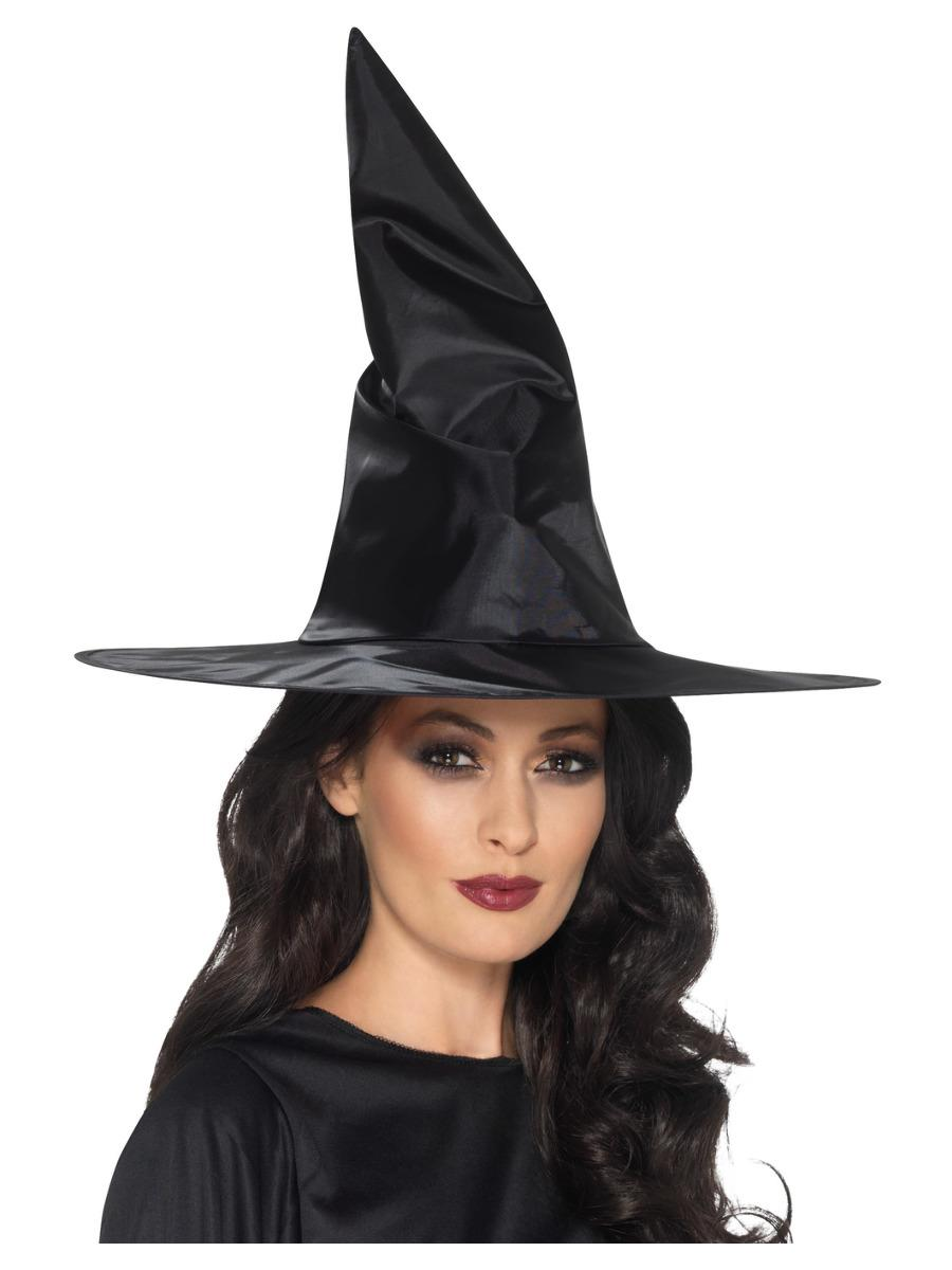 Witch Hat Black Shiny Fabric