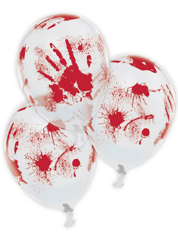 Bloody Hand Print Clear Latex Balloons