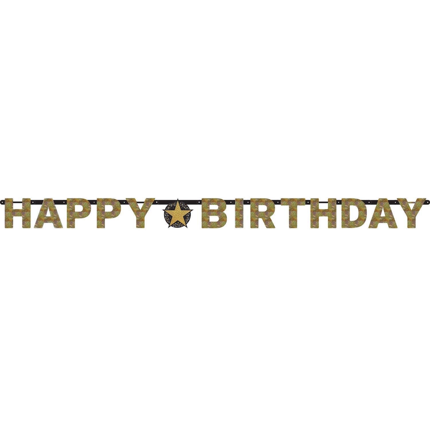 Birthday Letter Banner Sparkling Gold & Black
