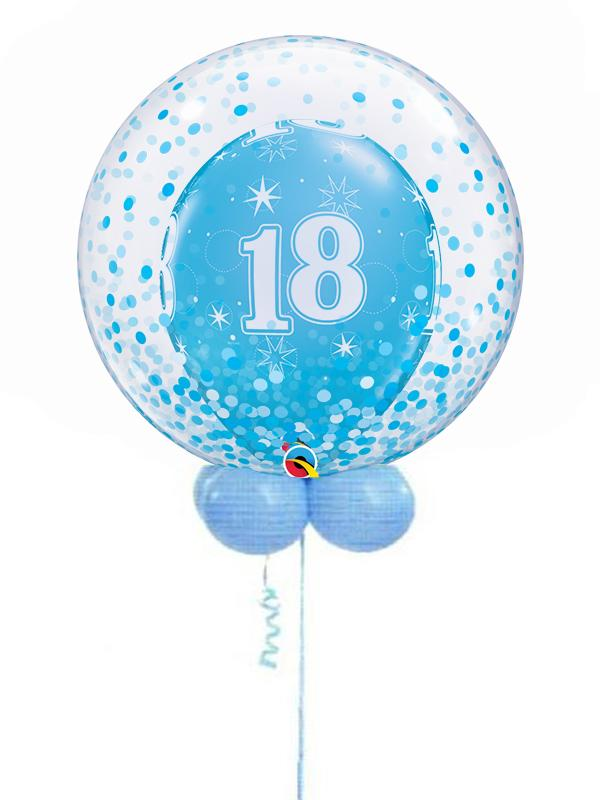 Blue Birthday Double Bubble Balloon Bouquet Ages 18-60