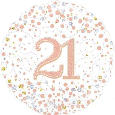 Foil Balloon Sparkling Fizz 21st Birthday White & Rose Gold