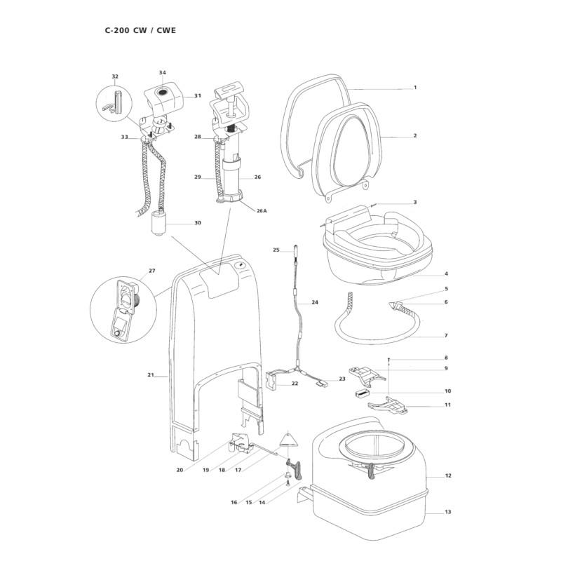 thetford cassette toilet pump retainer [23845] for c200cwe diagram