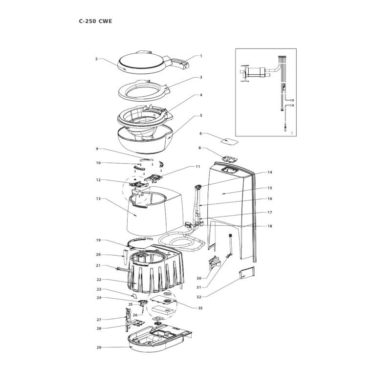 thetford cassette toilet electric pump [50712] for c250cwe diagram