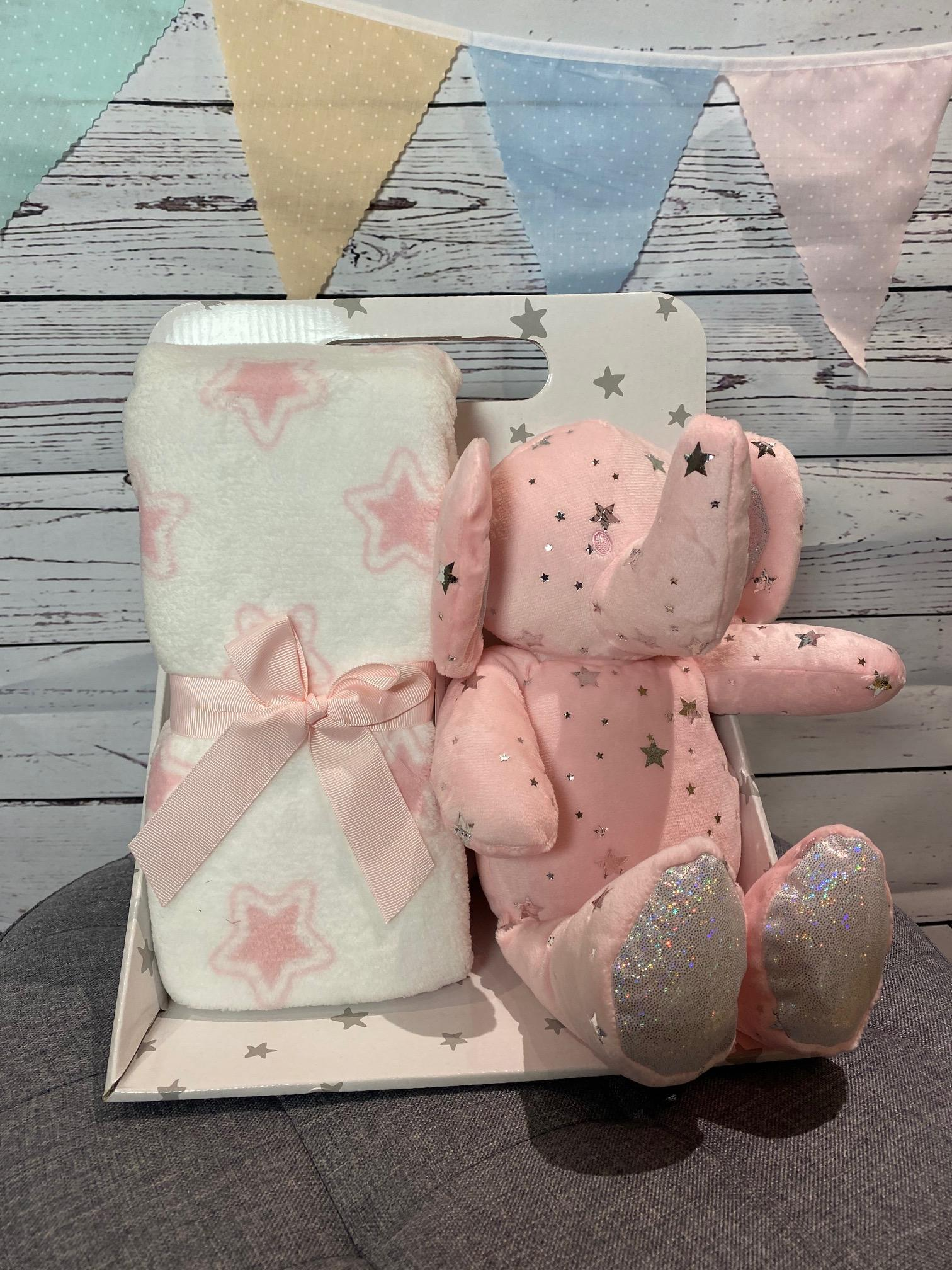 Elephant Star Blanket and Soft Toy (pink)
