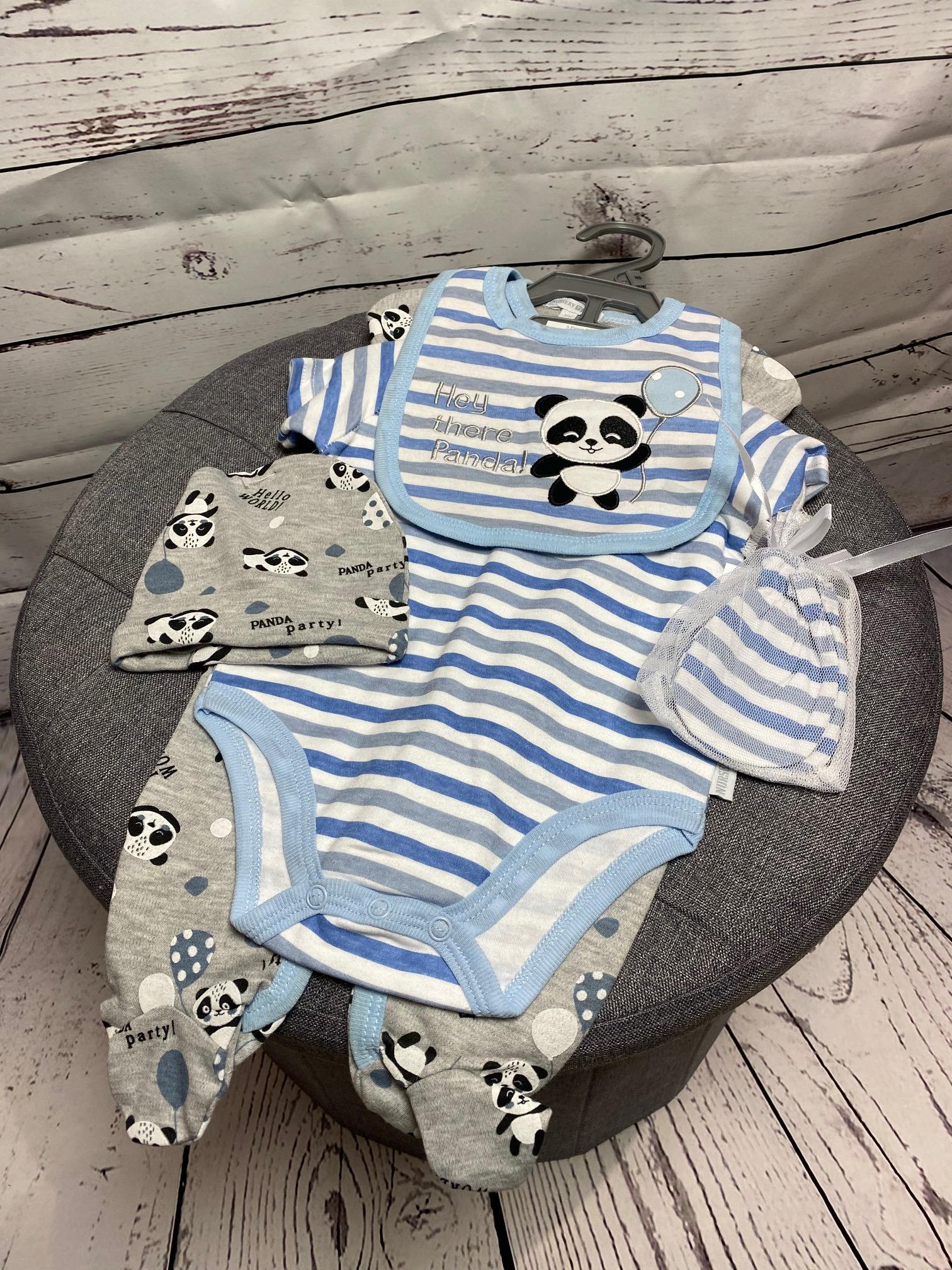 Hey There Panda - 5 Piece new baby gift set