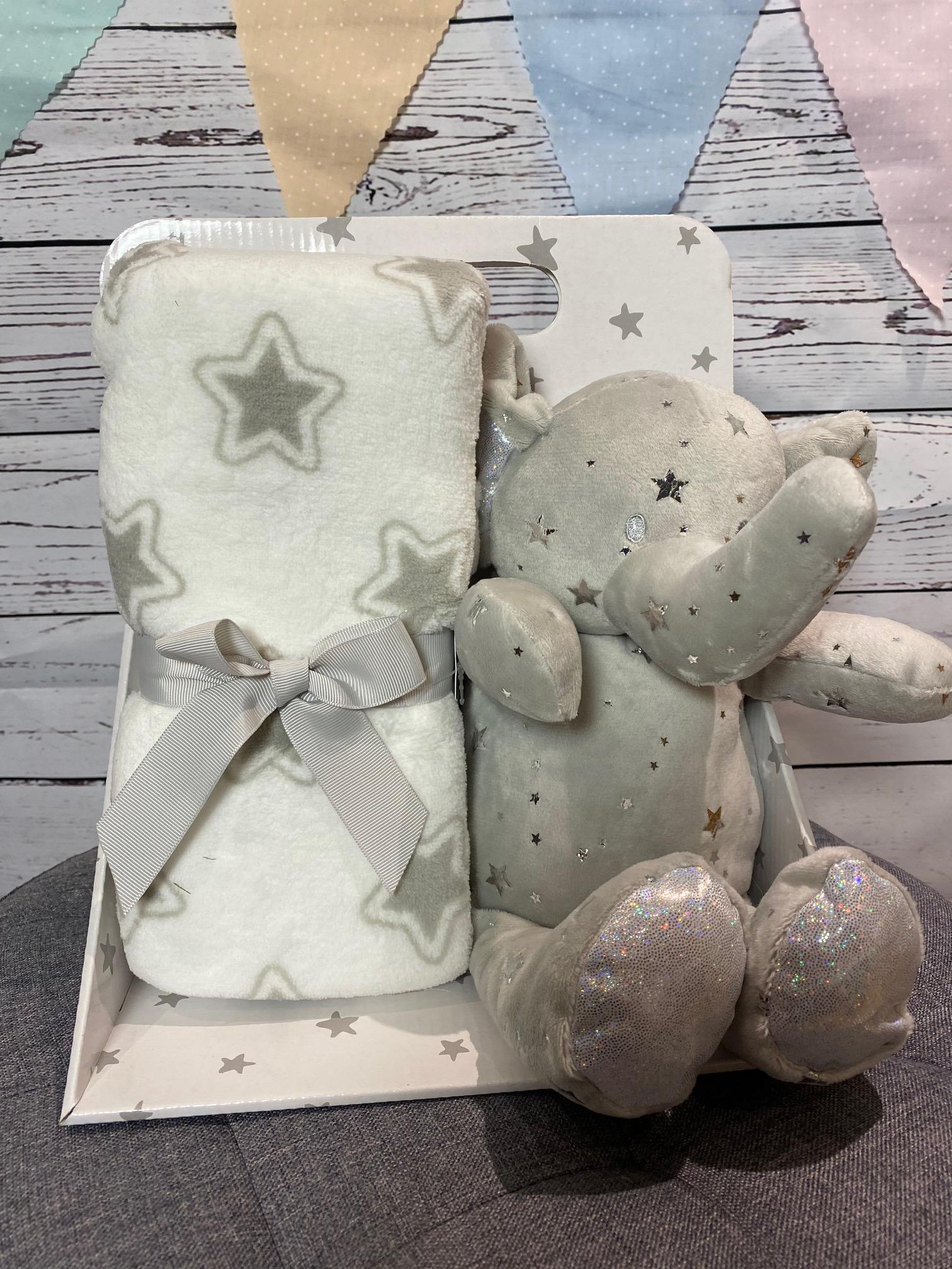 Elephant Star Blanket and Soft Toy (grey)