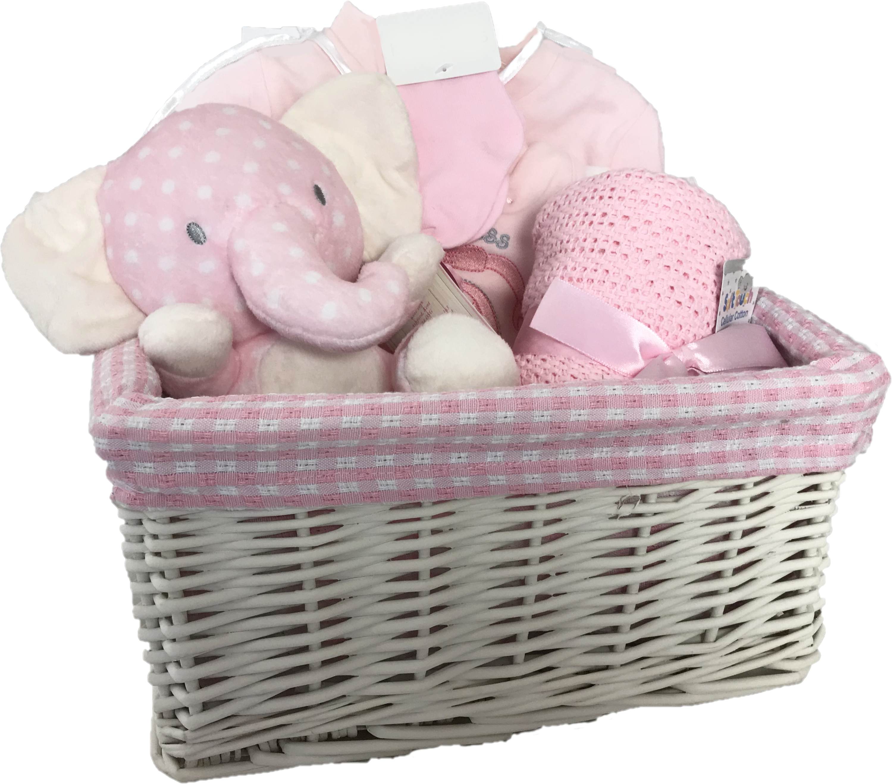 Lullaby Elephant New Baby Gift Basket (Pink)