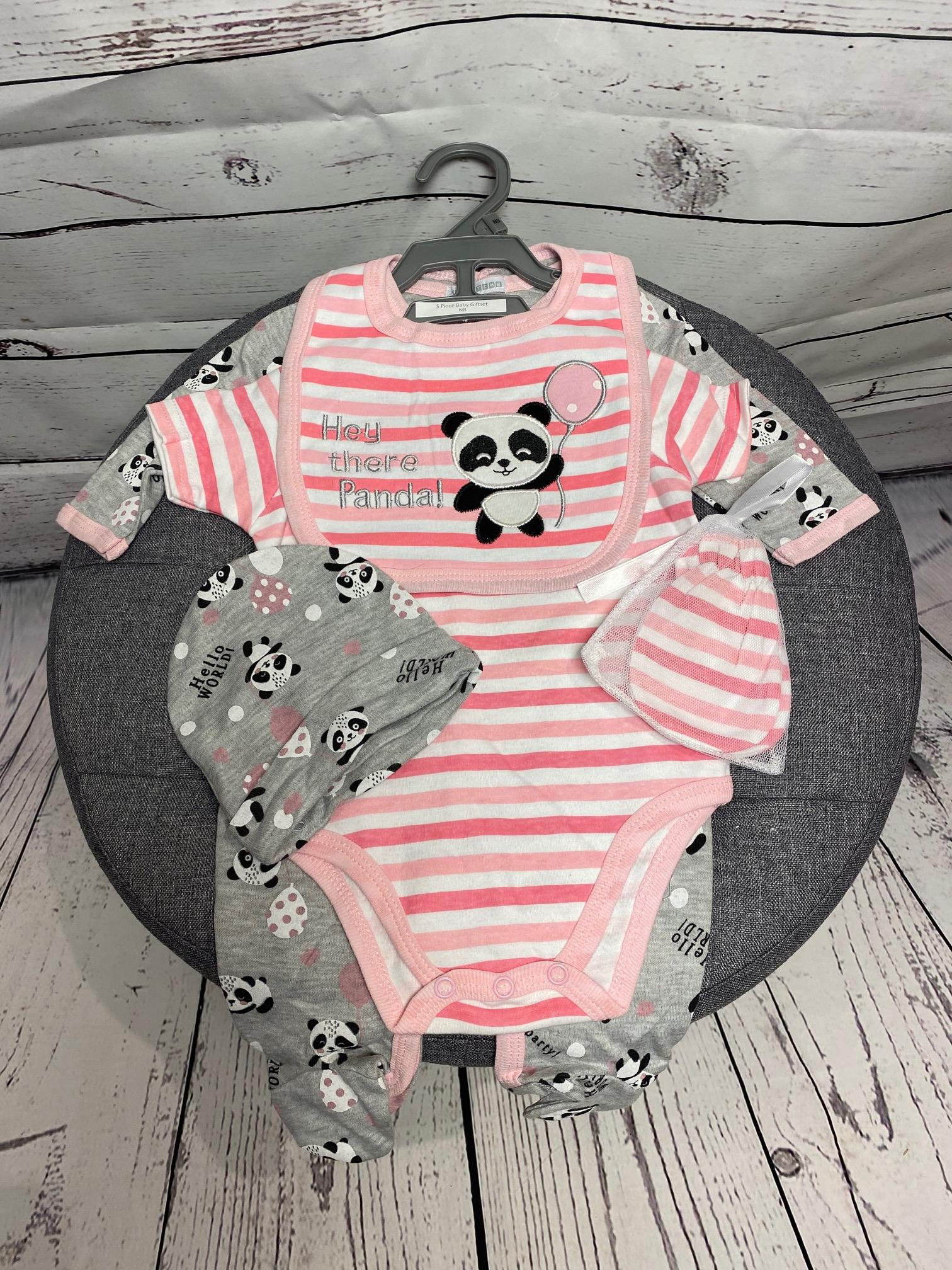 Hey There Panda - 5 Piece New Baby Gift Set (Pink)