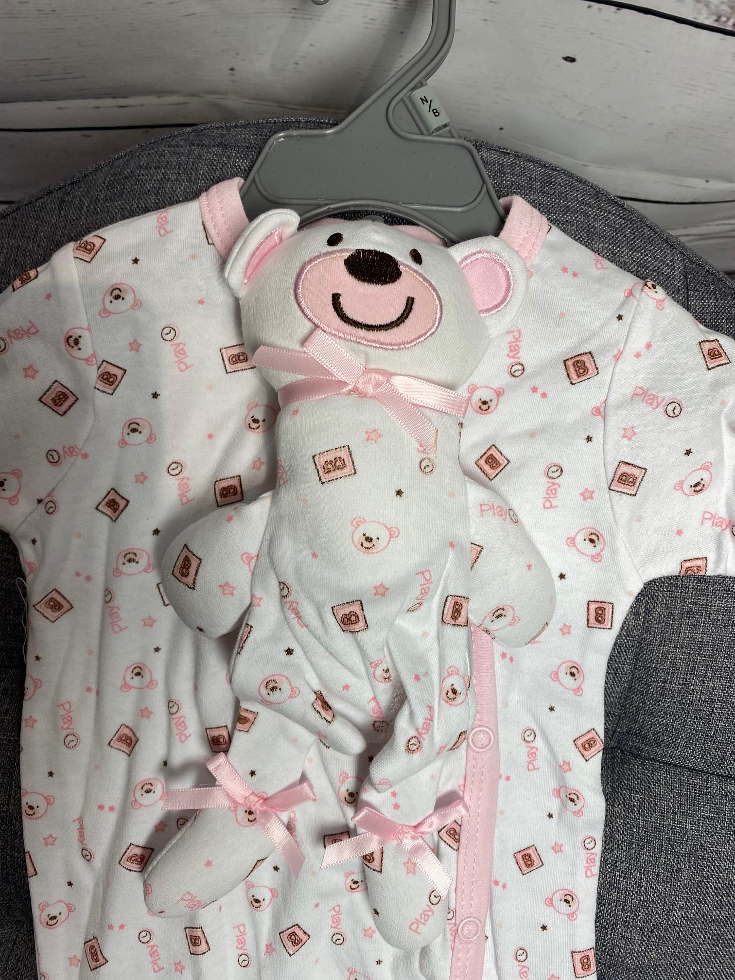 Pink Bear and Bodysuit Baby Gift Set (Pink)