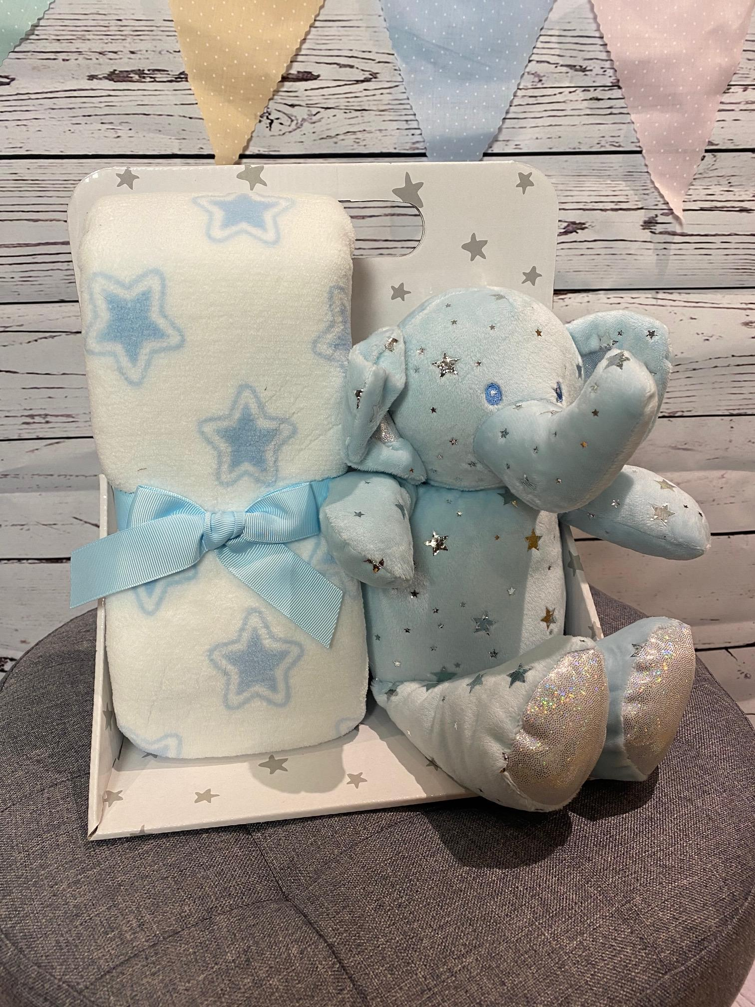 Elephant Star Blanket and Soft Toy (blue)