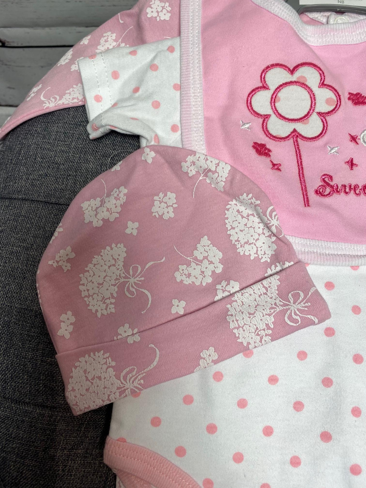 Pretty Pink Flowers -  5 Piece New Baby Gift Set