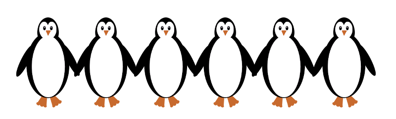 A software-drawn picture of a row of penguins