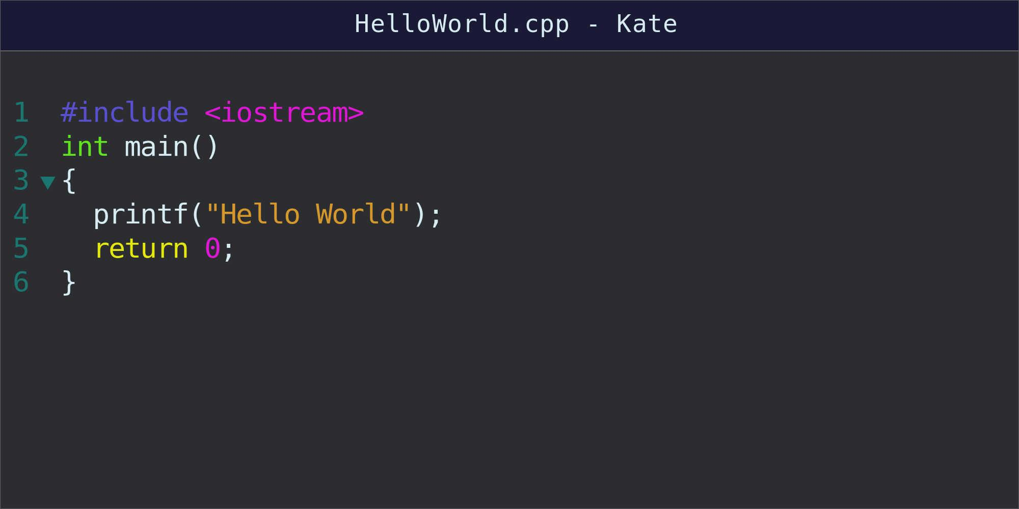 Code for hello World program shown in text file