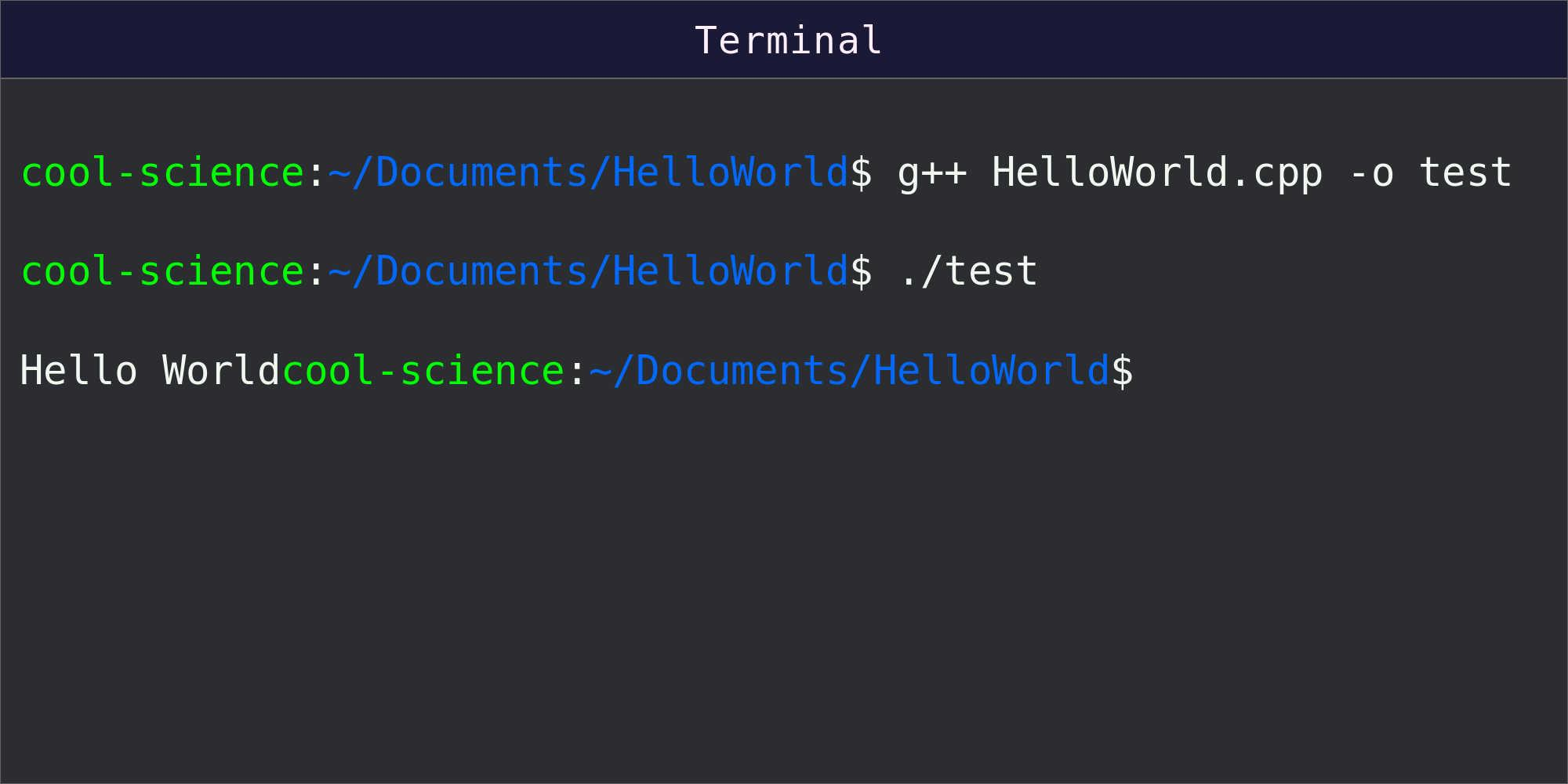 Commands and results shown in command line terminal