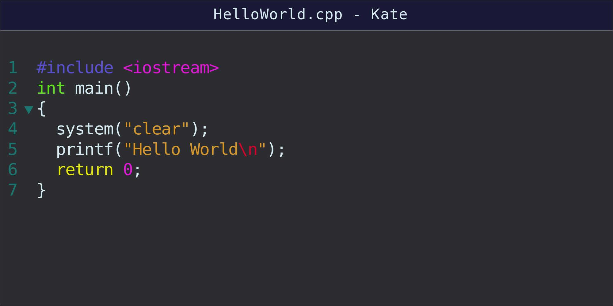 Re-written code for hello World program shown in text file