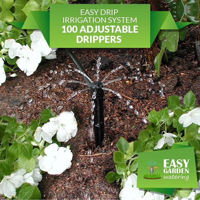 Easy Drip Irrigation System 100 Adjustable Drippers