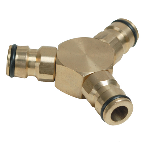 Brass 3 Way Hose Connector