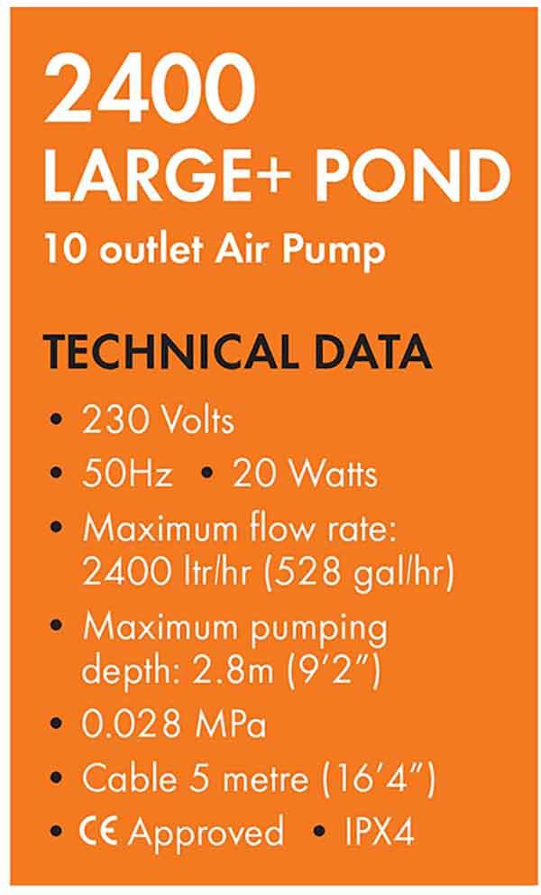 Blagdon Pond Oxygenator 2400 Air Pump Specs