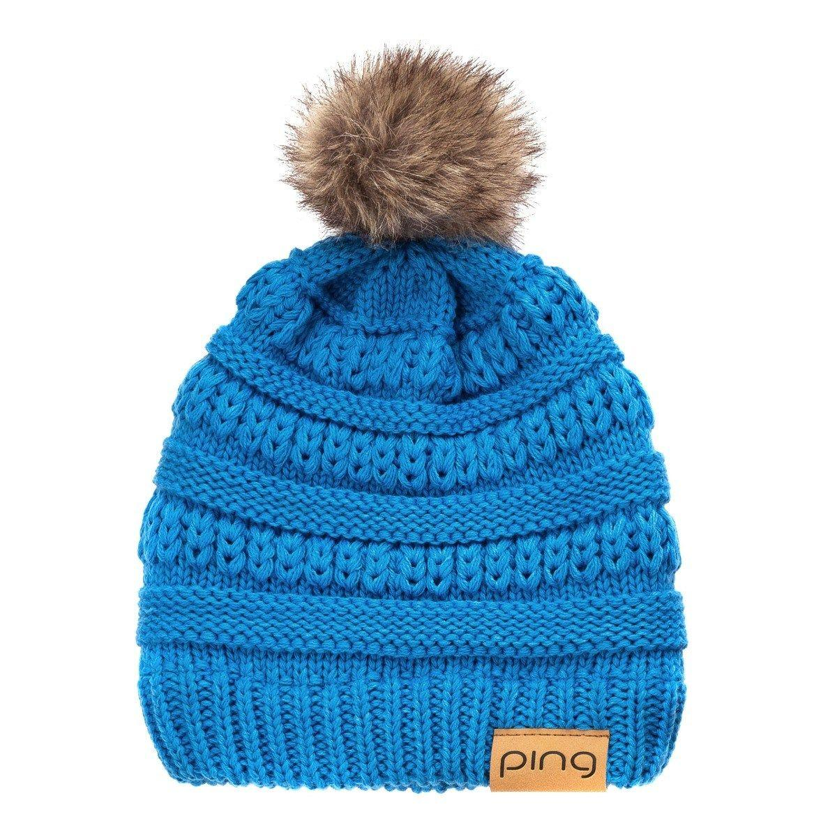 Blue Cable Bobble Hat