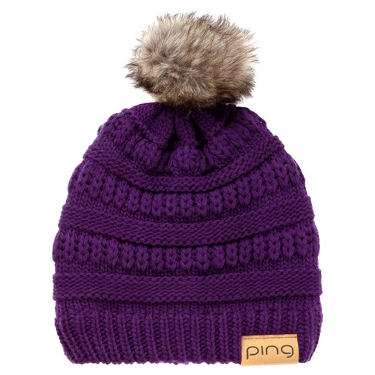 Purple Cable Knit Bobble Hat