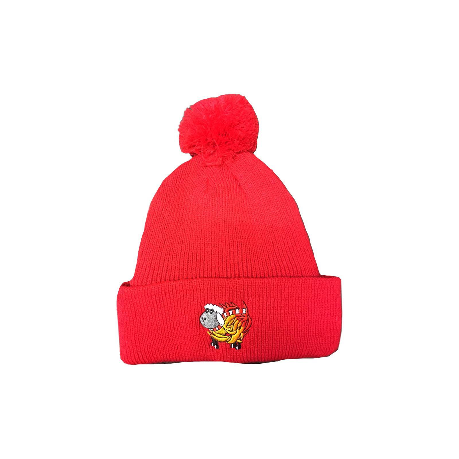 Red Sheep On Fire Bobble Hat