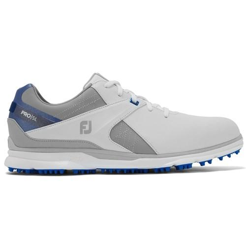 footjoy pro sl white grey blue shoe