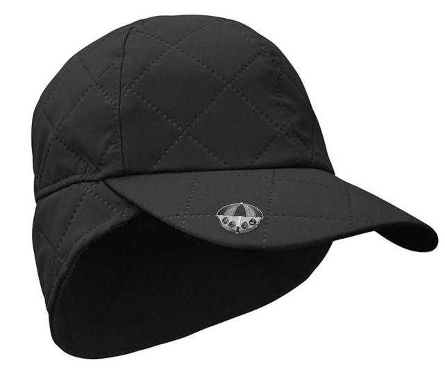 Waterproof Quilted Cap with Umbrella Ball Marker - Black