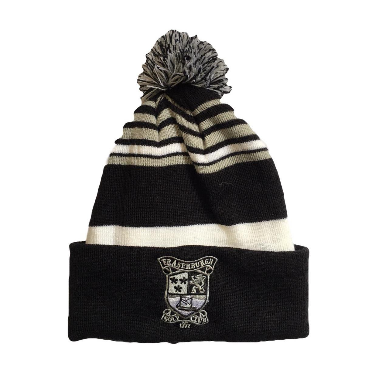 Fraserburgh Golf Knit Bobble Hat Black White