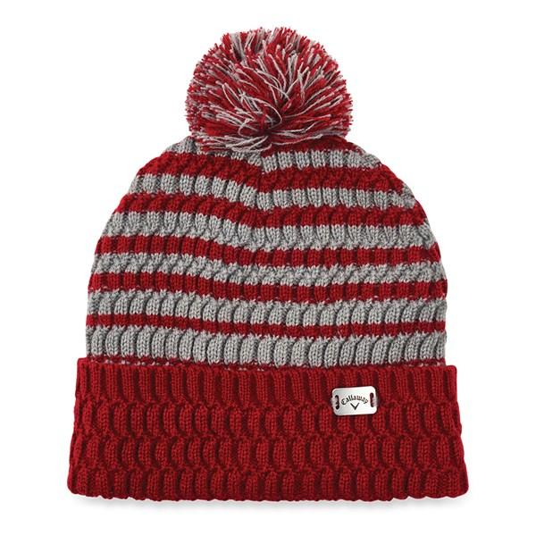 Callaway Striped Bobble hat Red & Grey