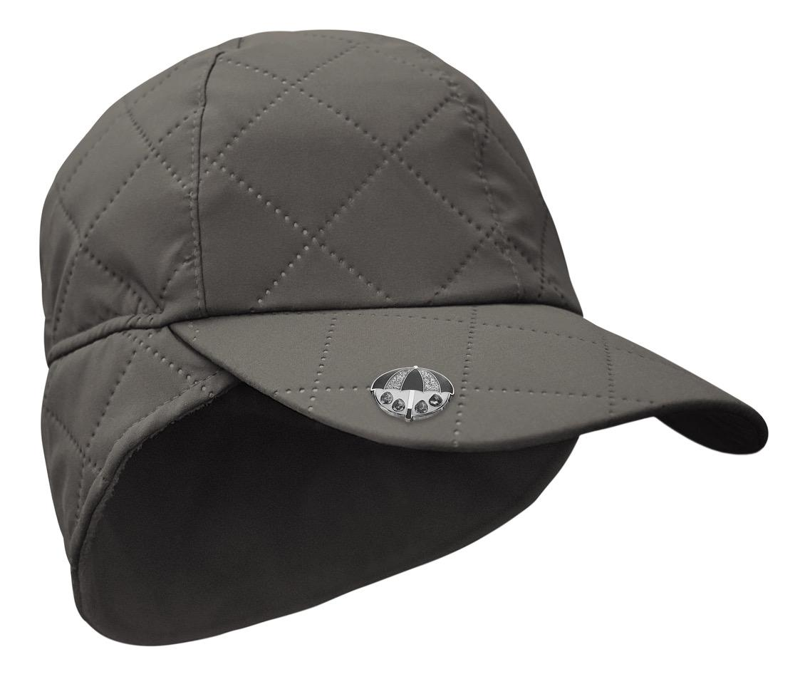 Waterproof Quilted Cap with Umbrella Ball Marker - Grey