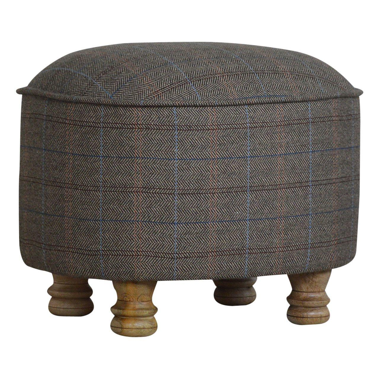 Sustainable Multi Tweed Footstool