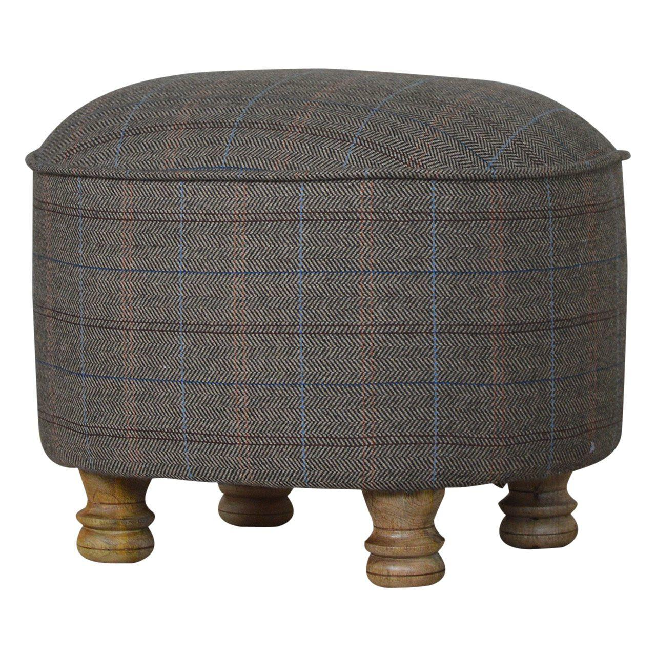 Sustainably Sourced Multi Tweed Footstool