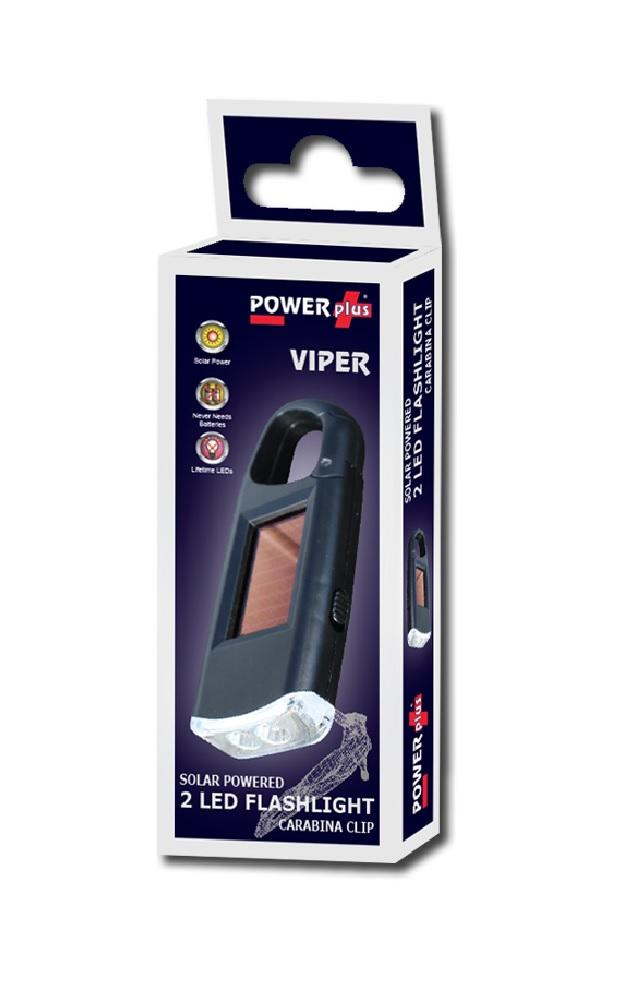 POWERplus Viper Pocket Sized Solar Powered LED Flashlight with Carabina Clip