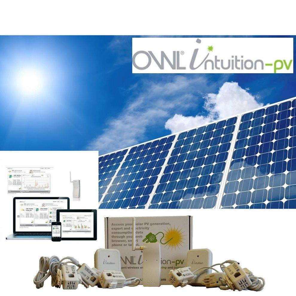 OWL Intuition-PV 3 Phase XL/Std Solar Power Monitoring System Large Sensors (200 / 71 amps Main / Solar per Phase)
