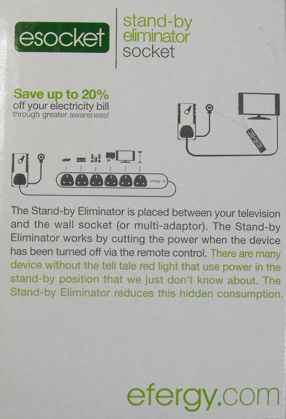 Efergy ESocket - Stand-by Eliminator Socket - box rear
