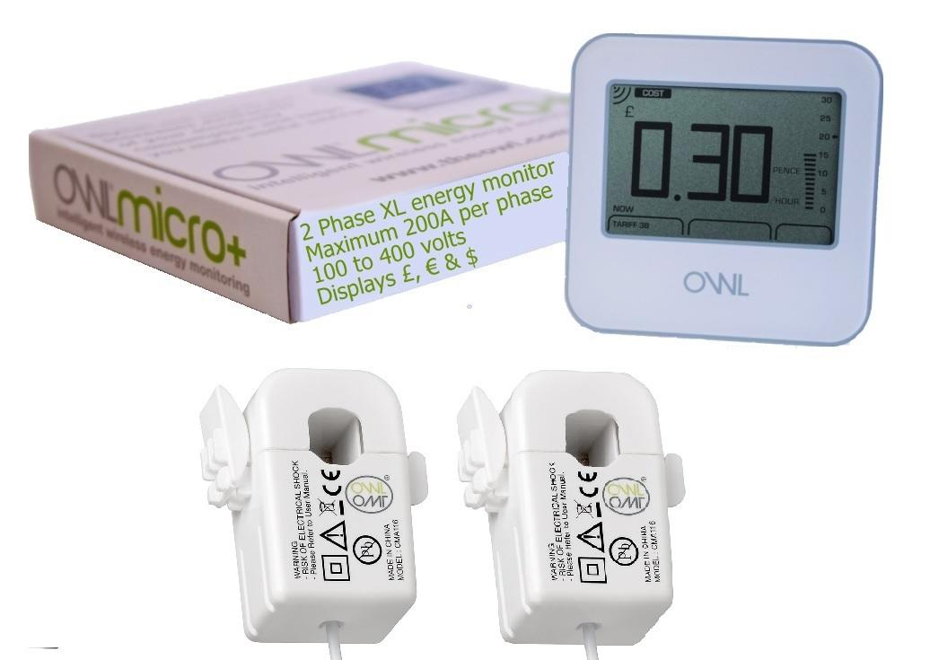 OWL Micro+ CM180 XL Two Phase Electricity Monitor (2 x 200 amp 17mm CT Sensors)