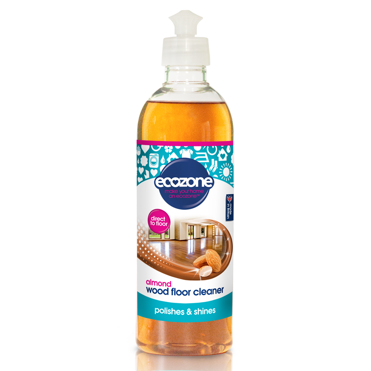 Ecozone Almond Wood Floor Cleaner 500 ml, Squirt & Mop