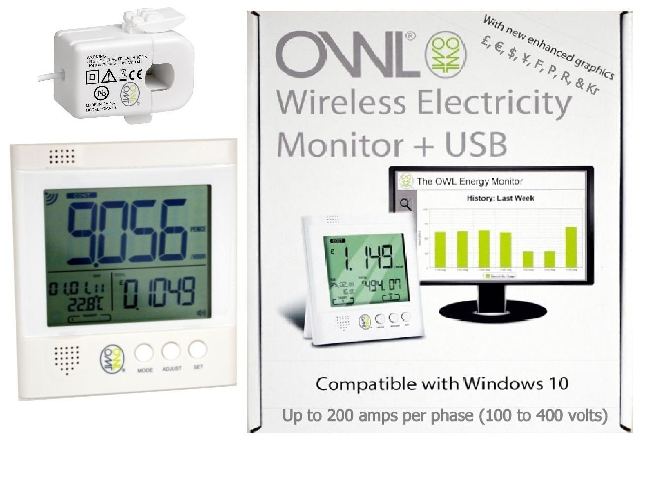 OWL CM160 +USB XL Wireless Energy Monitor (1 x 200 amp 18 mm CT Sensors)