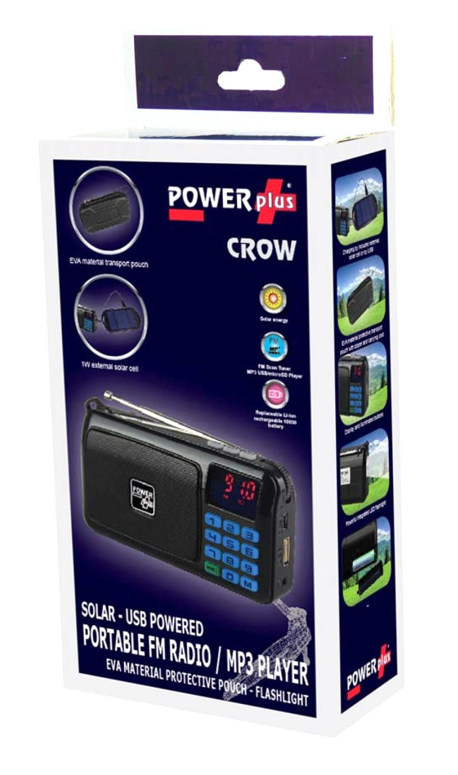 POWERplus Crow Solar - USB Powered FM Radio
