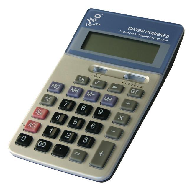 H2O Water Powered Desktop Calculator - Back