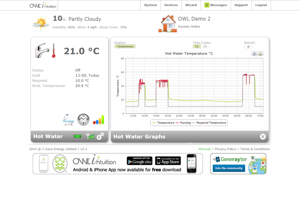OWL Intuition-H Smart Heating & Hot Water Control System