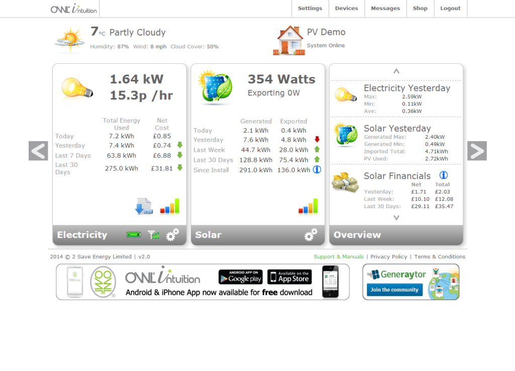 OWL Intuition-PV 3 Phase Solar Power Energy Monitoring System Standard Sensors (71 amps per phase)
